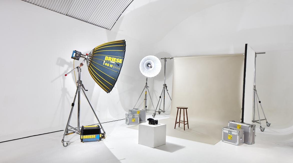 A Studio in action with lighting and background