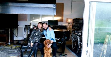 Alfie Boe and Rachel Fuller with dog
